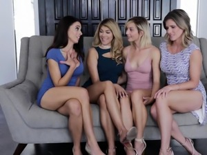 Pussylicking sapphic lesbian foursome