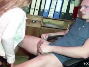 GERMAN MILF JENNY SEDUCE TRAINEE BOY TO FUCK HER IN OFFICE