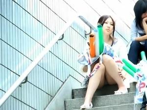 Street voyeur films a cute Asian girl in sexy blue panties