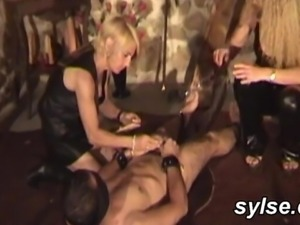 2 hot dominas and their slave - amateur compilation