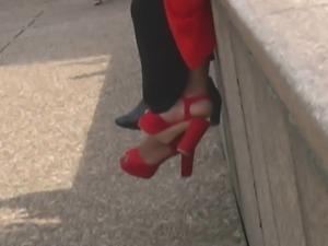 Ebony in red heels