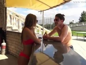 Tiffany tatum mastubates her sexy hairy pussy by the pool