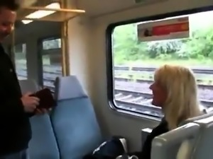 Stacked German milf gets drilled and facialized on a train