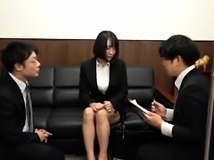Elegant Japanese babe gets drilled rough by two horny guys