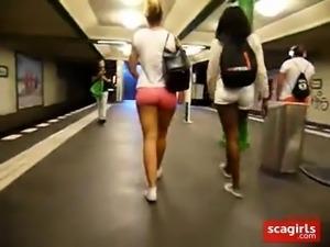 Black & White Girl Walking, Juicy bums in Tight Pink Shorts