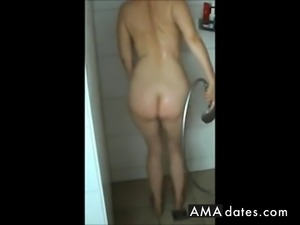Big mature ass, hairy pussy and saggy tits in shower