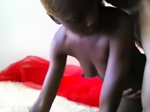 Sexy black babe indulges in wild sex action with a white guy