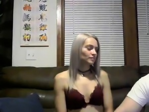 Petite camgirl deepthroats a fat cock and gets nailed hard