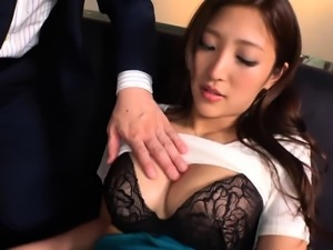 Busty Asian beauty with a perfect ass loves to suck and fuck