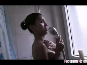 Latina chick enjoyed after shower
