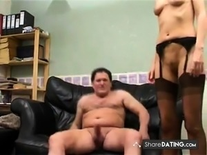 British MILF amateur anal in stockings.