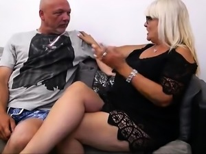 Naughty mature neighbors get together for a group sex party