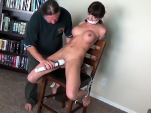 Helpless babe with big round tits gets her cunt vibrated