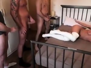 Big breasted amateur milf gets gangbanged and covered in cum