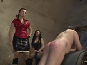 Goddess Lena with a friend whipping & canning slaves ass